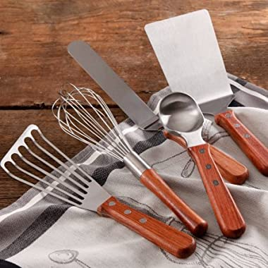 Cowboy Rustic Baker's Essentials 5-Piece Kitchen Tool Set with Short Wood Rosewood Handle