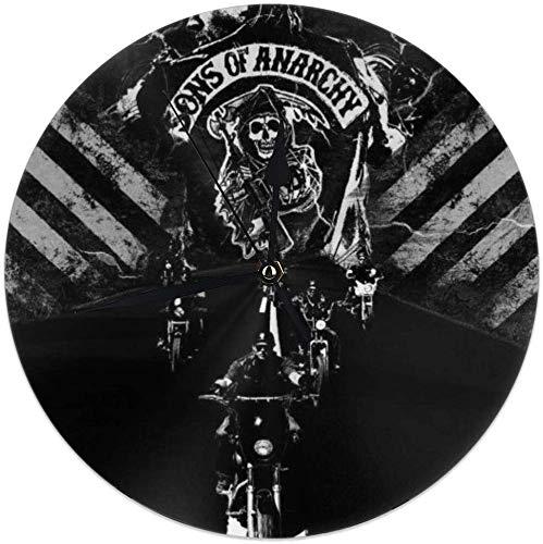 Sons of Anarchy Fans Circle Wanddekoration Art Clock, Silent Non Ticking Personality Uhren für & ensp; Living Room Decor