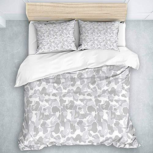 446 HBGDFNBV - Juego de ropa de cama de 3 piezas, diseño de camuflaje, 1 funda de edredón y 2 fundas de almohada, tamaño individual