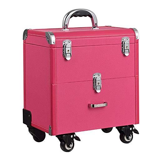 WANGXN Maquillage étui Vanity Trolley Extra Large avec tiroirs verrouillables Nail boîte à Bijoux,Pink