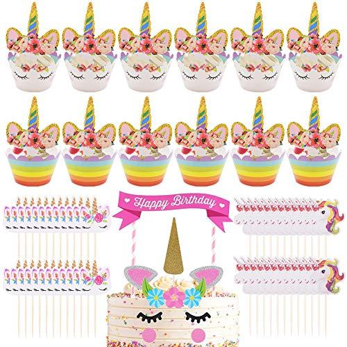 62 pcs Gateau Licorne-Decoration Licorne Gateau-Deco Gateau Licorne-Licorne Anniversaire-Cake Topper Licorne décorative de fête pour fête prénatale, Mariage et fête d'anniversaire
