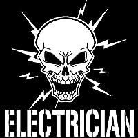 拓実-たくみ 琢磨 わたる 17.8CM * 18.4CMスカルとライトニングボルト電気技師ビニール電気ステッカーカーアクセサリーカーステッカーブラックスリヴァー (Color Name : Silver)