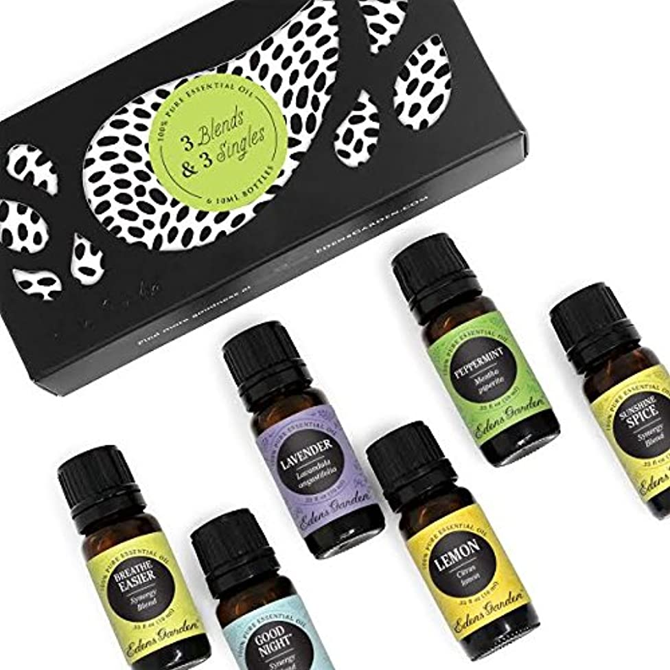 Edens Garden 3 Blends & 3 Singles Set, Best 100% Pure Essential Oil & Essential Oil Synergy Blend Aromatherapy Starter Kit (For Diffuser & Therapeutic Use), 10 ml