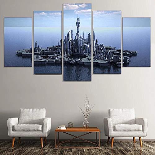 Myrdsio Leinwanddrucke Modern Home Wand Dekor Stargate Atlantis Leinwand 5 Stück Leinwände Drucken Modulare Bild Kunst Hd Malerei Kunstwerke,Fertig Zum Aufhängen(Mit Rahmen)