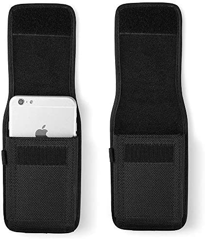 Nylon Men Hiking Cellphone Belt Loop Holster Pouch Case Fit for LG G Vista/Stylo 4 / X Venture / G6 Plus / V20 / G7 ThinQ / V35 ThinQ / V30S ThinQ / V30 (Fit with Battery Case on)