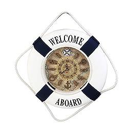 WINOMO Wall Clocks Welcome Aboard Nautical Decor Lifebuoy Ring Wall Hanging Home Decoration