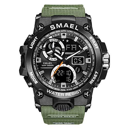 Reloj analógico para hombre, reloj militar para hombre, cronómetro electrónico, esfera doble grande, reloj de pulsera al aire libre,...