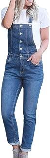 DreamedU Women's Ripped Boyfriend Denim Bib Overalls with Pocket,Jumpsuits for Women Elegant Casual Extender
