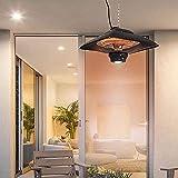 HAO KEAI Calefactor de terraza Patio al Aire Libre Calentador-Garaje Colgando lámpara de Calor eléctrica,termostato con DIRIGIÓ Luz,Caliente en 3 Segundos,Control Remoto,o Crecer Tienda,Invernadero