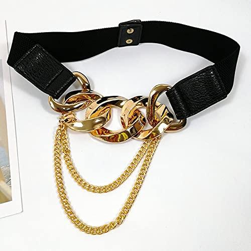 WEIYYY Cinturón de corsé elástico Cinturones de Cadena Dorada para Mujer Vestido de Lujo de Moda elástica con Borla, cinturón de Borla, para Cintura 68,90cm
