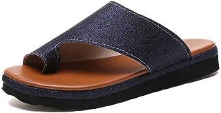 LQHYA Women Pu Shoes Comfy Platform Flat Sole Ladies Casual Soft Big Toe Foot Correction Sandal Orthopedic Bunion Corrector