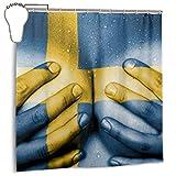 Mädchen verschwitzten oberen Teil der weiblichen Körper Hände bedeckt Brüste Flagge Schweden sexy, Home Decoration Duschvorhang 72inX72in