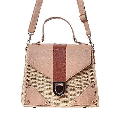Bolsos de paja para mujer, bolso popular de playa de verano para mujer, bolso de mensajero de moda tejido de viaje de Color caramelo, bandolera beige