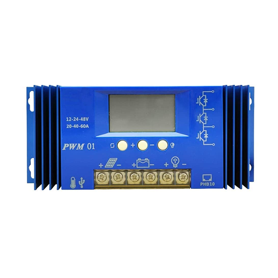 ひどいバクテリア刈るECO-WORTHY ソーラーチャージコントローラ 60A 12V / 24VオートスイッチバッテリレギュレータLCDディスプレイUSBポートによる過負荷保護