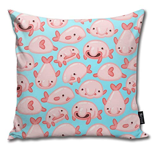 QMS CONTRACTING LIMITED Throw Pillow Cover Blobfish Pattern Decorative Pillow Case Home Decor Square 18x18 Inches Pillowcase