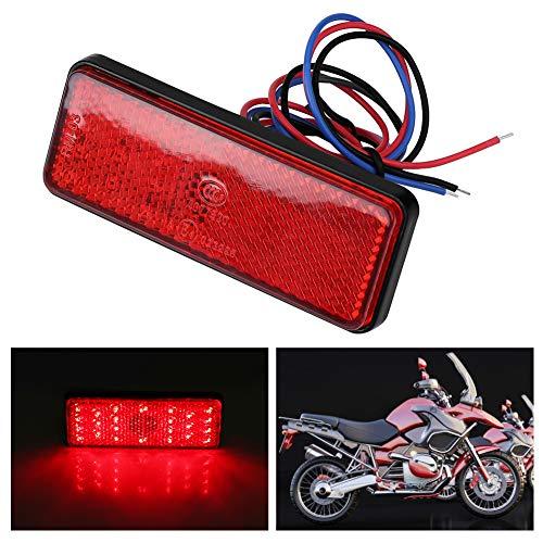 Universal Rücklicht Motorrad Roller Moped Fahrrad Bremslicht Wasserdicht und Wetterfest Rechteck LED Reflektor Bremsleuchte (Rot)
