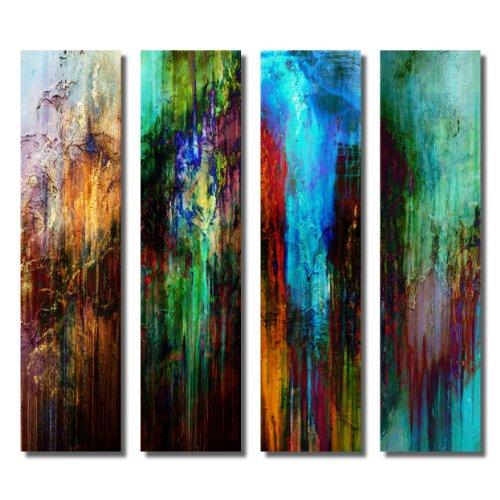 4 Bilder auf Metall - Moderne Kunst abstrakt - Kunstdruck auf Leuchtend glänzenden Aluminium im Edelstahl-Design - schöne große Wandbilder - Wanddeko Wohnzimmer Büro Wohnung Empfangsraum