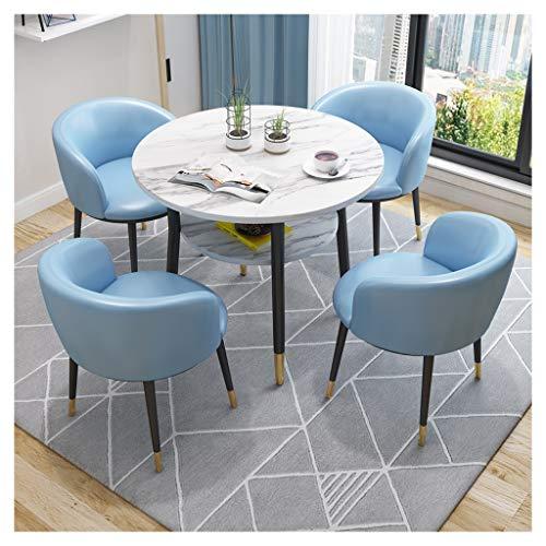 Tisch und Stühle, Restaurant-Tisch, kombiniert und Stühle, 1 Tisch und 4 Stühle, Dessert, Cafe, Hotel, Marmor, für Büro, Balkon, Wohnzimmer, 80 cm Tisch Hellblau