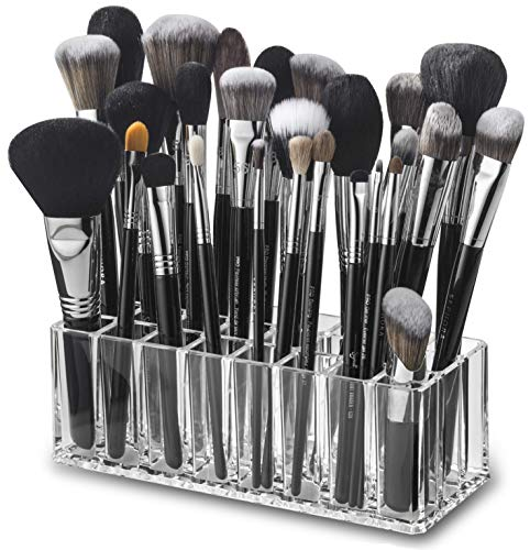 byAlegory Acrylic Makeup Brush Organizer 24 Space Storage w/ Deep Slots for Cosmetic Beauty Brushes Refillable Container - Clear