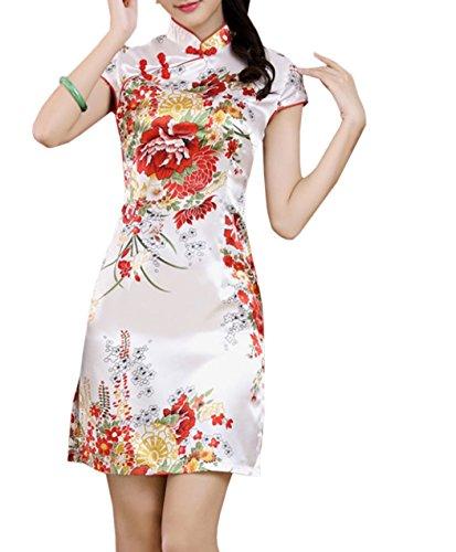 XueXian(TM) Mujer de Elegente Qipao de Estilo China(China XL/EU 40,Blanco)
