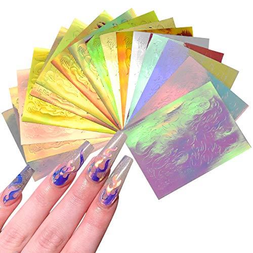 NATUCE 16 Stück Nagel Sticker Flamme, Mischfarbe Flammen Nagelsticker, Nail Art Stickers Flames, Flame Nail Art Aufkleber, Feueraufkleber für Nägel, Halloween Nagelsticker
