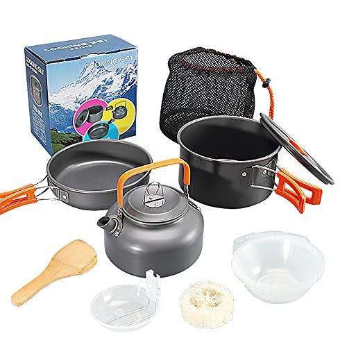 siddons Juego de ollas de camping al aire libre combinación de tetera con accesorios de olla portátil juego de tres olla combinación de macho-Orange_handle