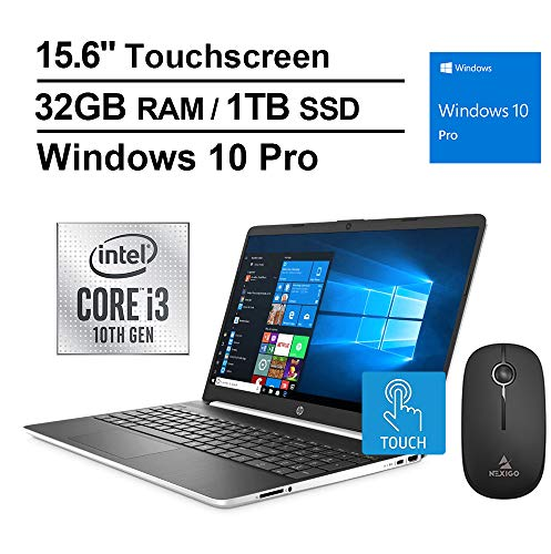 2020 HP Pavilion 15.6 Inch Touchscreen Laptop| 10th Gen Intel Core i3-1005G1 (Beats i5-7200U)| 32GB RAM| 1TB PCIe SSD| WiFi| Bluetooth| Webcam| Windows 10 Professional + NexiGo Wireless Mouse Bundle