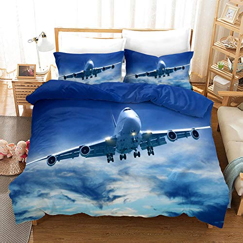 Duvet Cover King Size Set Ultra Soft 3 Pcs Bedding Set With Zipper Closure 100% Polyester Quilt Duvet Cover and 2 Pieces Pillowcases Airplane and Sky for Bedroom Daybed 230X273cm