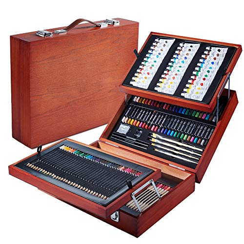 Art Supplies, 168-Piece Deluxe Wooden Art Set Crafts Kit with Oil Pastels, Colored Pencils, Watercolor Paint, Acrylic Paint, Oil Paint, Creative Gift for Kids, Teens, Beginners Girls Boys