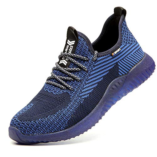 SUADEX Steel Toe Work Shoes Indestructible Shoes Men Women Lightweight Construction Composite Toe Shoes Blue Size 10.5 Women/9 Men