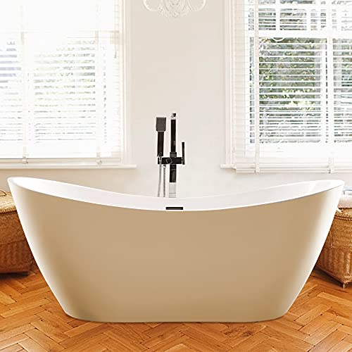 Vanity Art 70 Inch Freestanding Acrylic Bathtub Modern Stand Alone Soaking Tub with Polished Chrome UPC Certified Slotted Overflow and Pop-up Drain VA6517