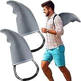 Gejoy 2 Piezas Accesorios de Aleta de Tiburón Disfraz de Aleta de Tiburón Accesorios de Disfraz de Juego de Tiburón de Fácil-de-vestirse para Adultos y Niños