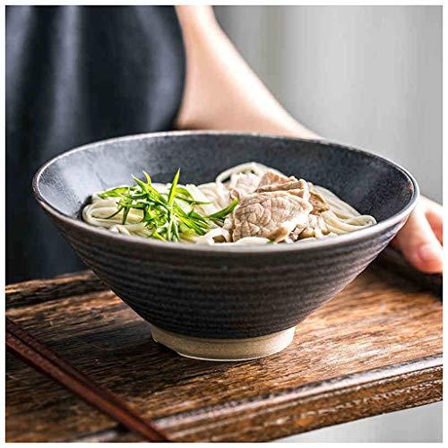 YYF Bol en céramique rond de style chinois - ensemble de couverts de grand bol à soupe de ramen mis dans un bol à seau de commerce diamètre 17,5 cm (Color : Black)