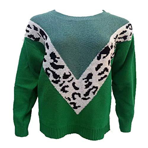 Otoño/Invierno Blusa de Mujer Moda Cuello Redondo Costura Estampado de Leopardo Suelto Casual suéter de Manga Larga X-Large
