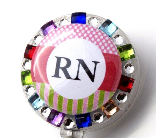 RN Logo Nurse Rhinestone Retractable Badge Reel/ ID Badge Holder