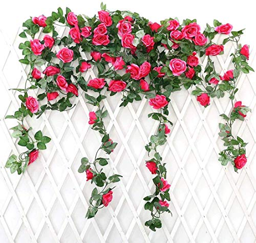 JUSTOYOU 2 Pack 7.2ft Artificial Fake Rose Garland Vines Hanging Silk Flowers for Outdoor Indoor Wedding Wall Badroom Decoration (Rose Red)