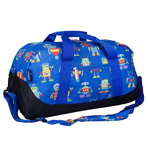 Wildkin Kids Overnighter Duffel Bags for Boys & Girls, Measures 18 x 9 x 9 Inches Duffel Bag for Kids, Carry-On Size & Ideal for School Practice or Overnight Travel, BPA-free (Robots)