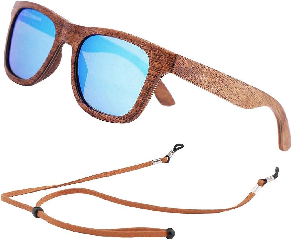 An Swallow Gafas de sol de Madera Bambú, Gafas de sol Polarizadas Hombre Mujer Vintage Espejo Marca