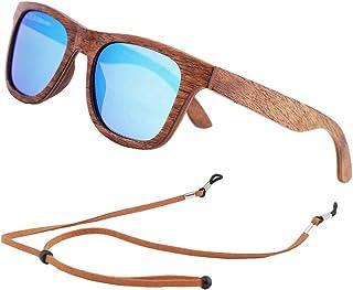 An Swallow Occhiali da Sole in Legno Polarizzate, Vintage Occhiali da Sole da Uomo Donna Polarizzati Protezione UV400