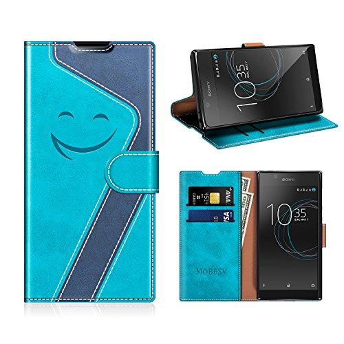 MOBESV Smiley Sony Xperia L1 Hülle Leder, Sony Xperia L1 Tasche Lederhülle/Wallet Hülle/Ledertasche Handyhülle/Schutzhülle für Sony Xperia L1, Aqua/Dunkel Blau