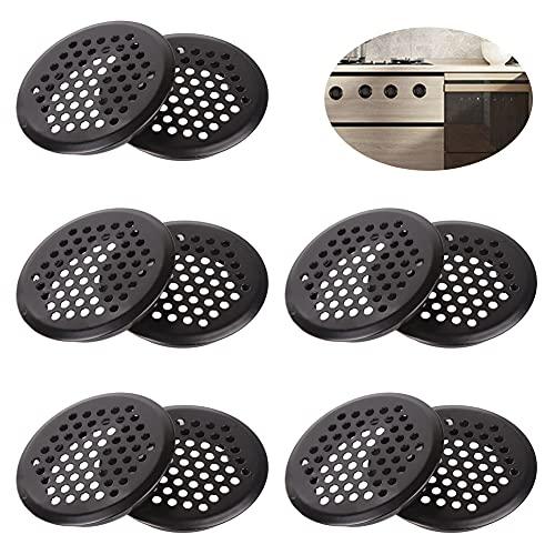 Mitening 10 rejillas de ventilación de 53 mm, de acero inoxidable, redondas, orificio de ventilación, para caravanas, baños, cocinas, estanterías y armarios, color negro