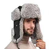 Winter Hat, Bomber Hats Windproof Warm Sheepskin Leifeng Hat with Outdoor Fashion and Warmth Suitable for Skis Bike Caps and Other Outdoor Activities,Black,S