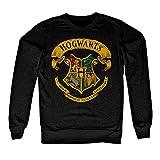 HARRY POTTER Licenza Ufficiale Inked Hogwarts Crest Felpa (Nera) Small
