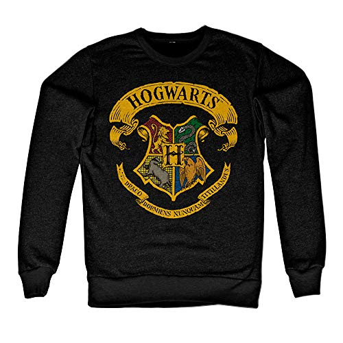 HARRY POTTER Oficialmente Licenciado Inked Hogwarts Crest Sudaderas (Negro) X-Large