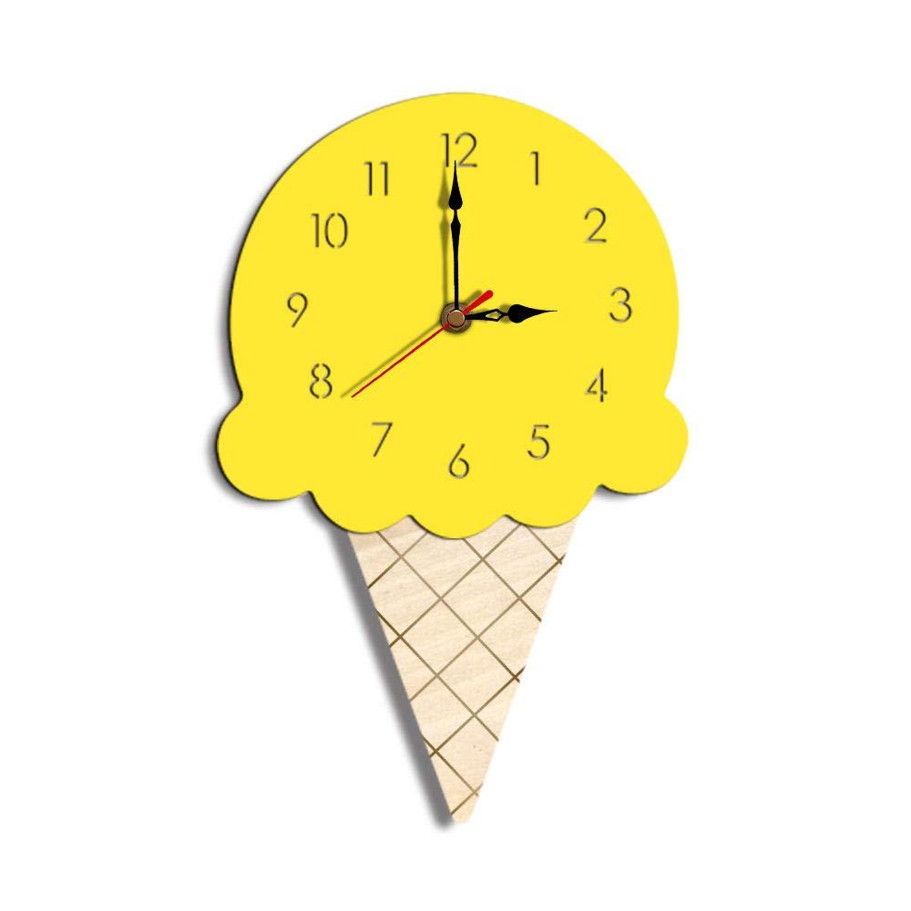 ساعة حائط على شكل ساعة نورديك أيس كريم كرتون كتم صوت ساعة حائط للأطفال S لتزيين غرفة الأطفال لديكور المنزل كوارتز صغير اصفر Amazon Ae