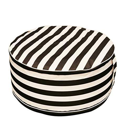PEGANE Pouf Gonflable en Textile Coloris Blanc/Noir - 56 x 56 x 25 cm