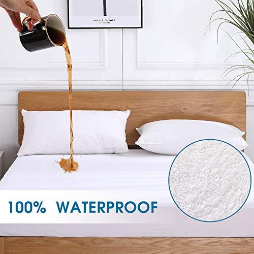 VODOF Full Size Premium 100% Waterproof Mattress Protector-Vinyl Free, Deep Pocket Stretch to 18' Cotton Terry Waterproof Mattress Cover