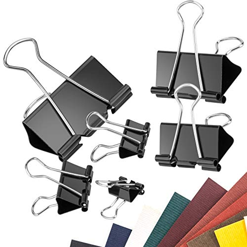 KinQuee 110 PCS - Binder Clips, Metal Binder Clips, Paper Clips, Metal, Black, 6 Different Sizes for Office, Home and School Supplies