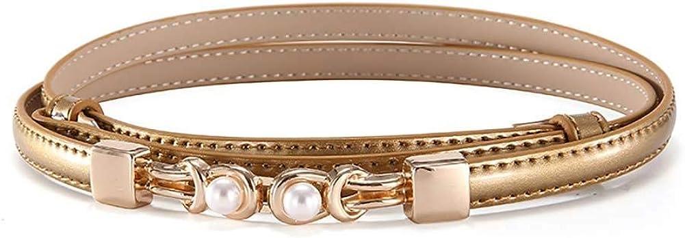 Leono Women's PU Leather Golden Belt Skinny Ladies Belt Pearl Adjustable Waist Thin Belt for Dress Jean Pant