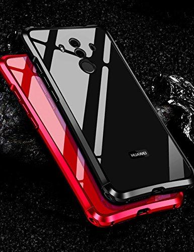 Mate 10 Pro メタルバンパー uovon 高品質アルミ製フレーム+バックプレート スクラッチ保護 Huawei Mate10 Pro カバー オシャレデザイン 最高レベル耐衝撃 ケース (Mate 10 Pro, ブラック)